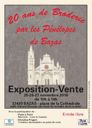 Afiiche exposition Broderie Bazas 2016